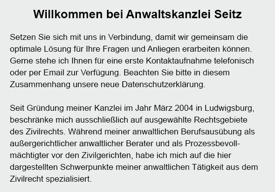 Anwaltskanzlei Seitz für 71679 Asperg, Kornwestheim, Schwieberdingen, Ingersheim, Markgröningen, Freiberg (Neckar), Bietigheim-Bissingen oder Möglingen, Tamm, Ludwigsburg